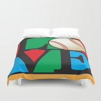 baseball Duvet Covers featuring Love Baseball by Gary Grayson