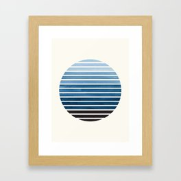Green Blue Mid Century Modern Minimalist Scandinavian Colorful Stripes Geometric Pattern Round Circl Framed Art Print