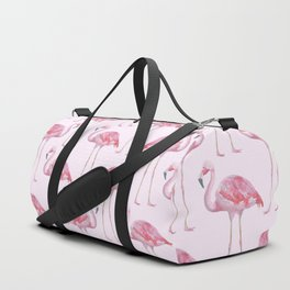 Flamingos - with pink background Duffle Bag