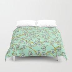 mint flowers Duvet Cover