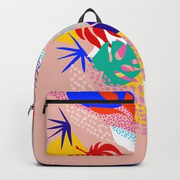 Keep Growing - Tropical plant on peach Backpack