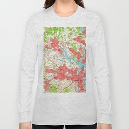 Vintage Map of Salem Massachusetts (1956) Long Sleeve T-shirt