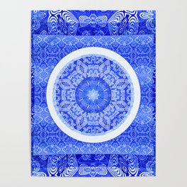Simple Blue and White Meditation Mandala Poster