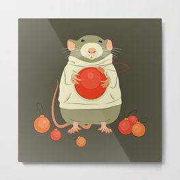 Mouse with a Christmas ball II Metal Print
