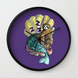mermaid sloth Wall Clock