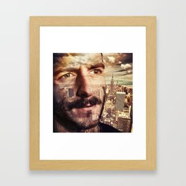 Double exposure portrait in nyc Framed Art Print