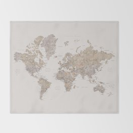 World map with cities in brown and light gray Throw Blanket