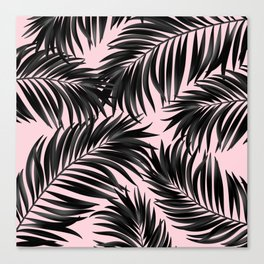Palm Tree Fronds Black on Pink Hawaii Tropical Graphic Design Canvas Print