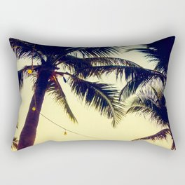 Vintage Palm trees with patio lanterns Rectangular Pillow