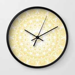 White Lace Mandala on Sunshine Yellow Background Wall Clock