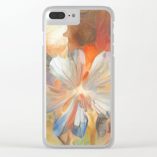 Abstract Wild Geraiums Clear iPhone Case