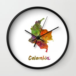 Colombia in watercolor Wall Clock