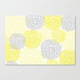 Yellow gray dahlias blossom art Canvas Print