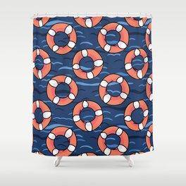 Cute lifering in the ocean cartoon seamless pattern Shower Curtain