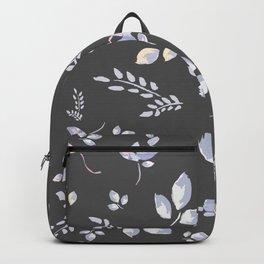 Spring watercolor leaves & tulips on dark grey background Backpack