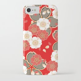 Japanese Vintage Red Black White Floral Kimono Pattern iPhone Case