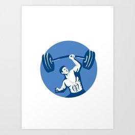 Strongman Lifting Barbell One Hand Stencil Art Print