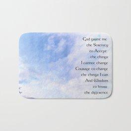 Serenity Prayer Blue Sky Gentle Clouds Bath Mat