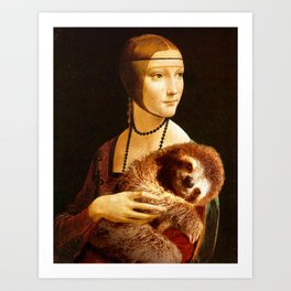 Lady with a Sloth Art Print