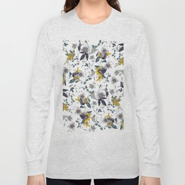 White Garden. Floral Pattern. Yellow Flowers. Long Sleeve T-shirt