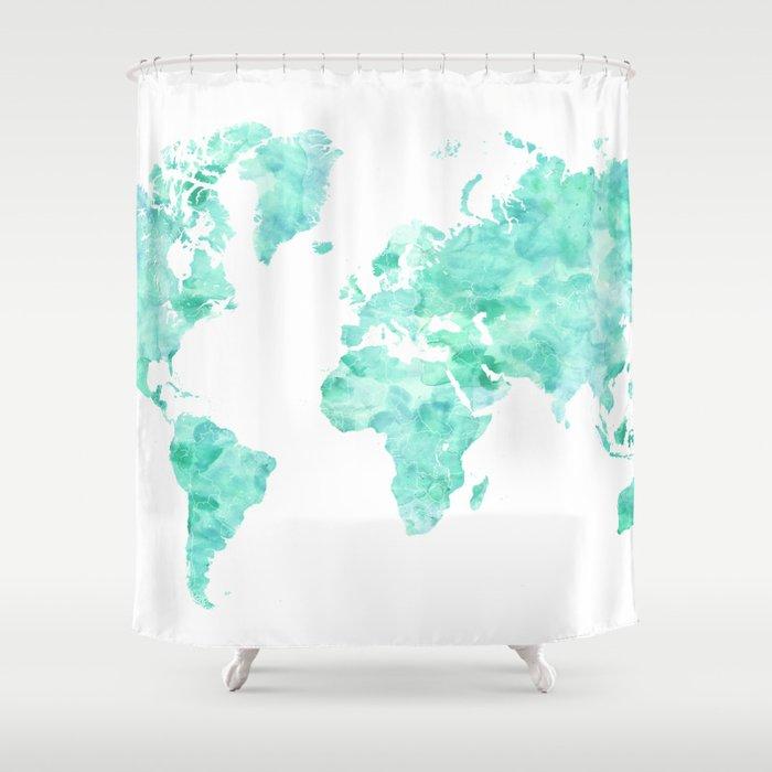 Teal Aquamarine Watercolor World Map Shower Curtain