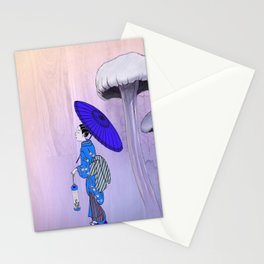 Geisha Walking with a parasol Stationery Cards