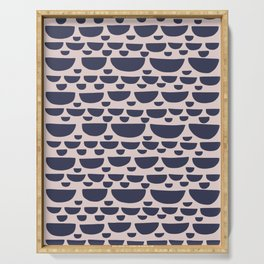 Half moon horizontal geometric print - Navy Serving Tray