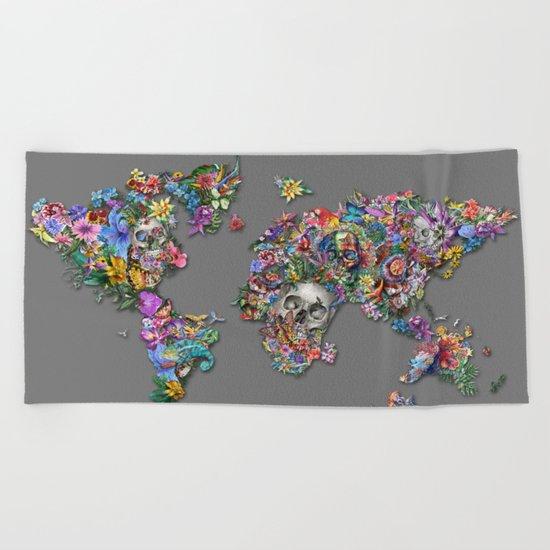 floral skull world map 1 Beach Towel