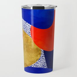 Terrazzo galaxy blue night yellow gold orange Travel Mug