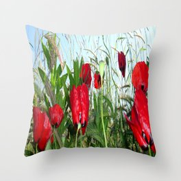 Landscape Close Up Poppies Against Morning Sky Throw Pillow
