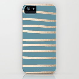 Abstract Drawn Stripes Gold Tropical Ocean Blue iPhone Case