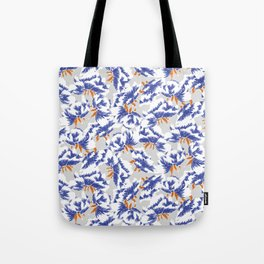 Japanese peonies pattern - blue and orange Tote Bag