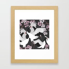 Dancing Cranes with Sakura Framed Art Print