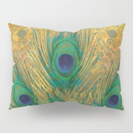 """""""Turquoise and golden peacock"""" Pillow Sham"""