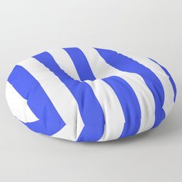 Palatinate blue - solid color - white vertical lines pattern Floor Pillow