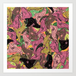 Butterfly Wings in Bright Pink and Lime Art Print