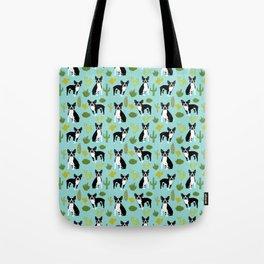 Boston Terrier cactus desert southwest baby mint dog art boston terrier owners pet portraits furbey  Tote Bag