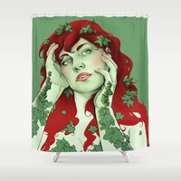 poison ivy Shower Curtains featuring poison ivy by bzablackis