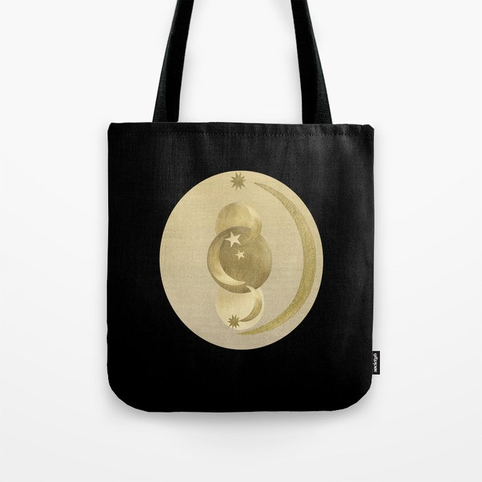 Black Gold Moon and Stars #1 #decor #art #society6 Tote Bag