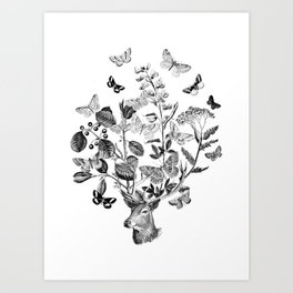 Buterflies and dear Art Print