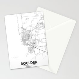 Minimal City Maps - Map Of Boulder, Colorado, United States Stationery Cards