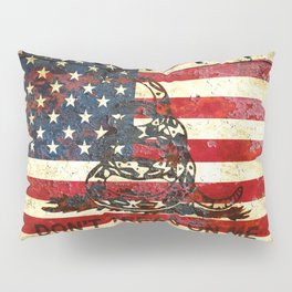 Don't Tread on Me - American Flag And Gadsden Flag Composition Pillow Sham