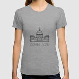 Marble Church Copenhagen Denmark Black and White T-shirt