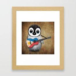 Baby Penguin Playing Filipino Flag Acoustic Guitar Framed Art Print