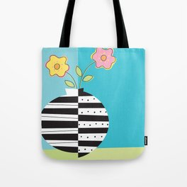round whimsy vases with flowers Tote Bag