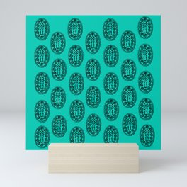 Ancient Egyptian Amulet Pattern Turquoise Blue Mini Art Print