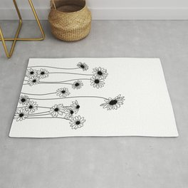 Minimal line drawing of daisy flowers Rug