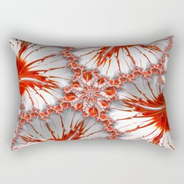 Red and White Fractal Abstract Rectangular Pillow