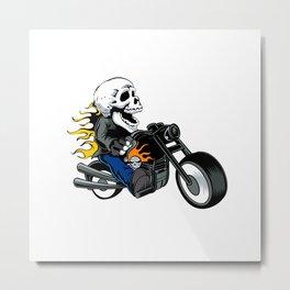 skull rider ride a motor cycle Metal Print