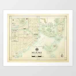 Miami [Vintage Inspired] Road Map Art Print